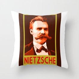 Philosophers of Note - Nietzsche Throw Pillow