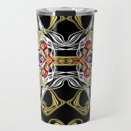 modern chic festive shiny metal pattern in red gold Travel Mug
