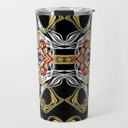 modern chic festive shiny metal pattern in red gold Travel Mug