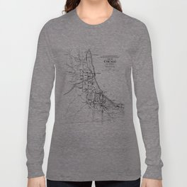 Vintage Map of The Chicago Railroad Network (1913) Long Sleeve T-shirt