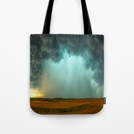 Open the Heavens - Panoramic Storm with Teal Hue in Northern Oklahoma Tote Bag