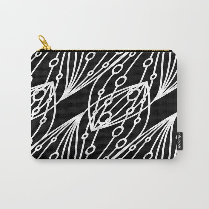 White molecular helix with diagonal circles on a black background. Carry-All Pouch