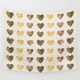 Gold and Chocolate Brown Hearts Wall Tapestry