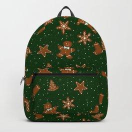 Gingerbread Pattern Green Backpack