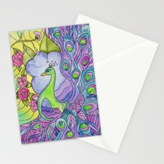 Stained Glass Watercolor Peacock Stationery Cards