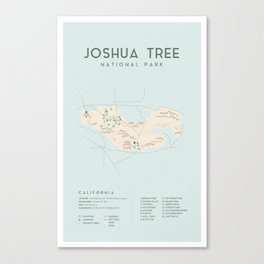 Joshua Tree Map Canvas Print