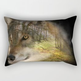 Wolf in the Forrest Rectangular Pillow