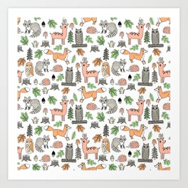 Woodland foxes rabbits deer owls forest animals cute pattern by andrea lauren Art Print