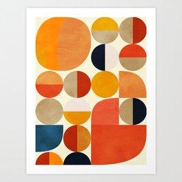 geometric abstract shapes autumn Art Print