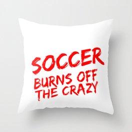 Soccer Player Soccer Burns off the Crazy Throw Pillow
