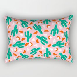 Red Hot - cactus southwest desert palm springs retro neon throwback 1980s style minimal plants Rectangular Pillow