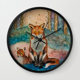 Daydreaming Fox Wall Clock