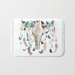 Butterfly Cow Skull Spirit Gazer Bath Mat