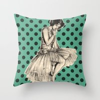 pinup Throw Pillows featuring Pinup by Jemma Cakebread