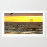 Windsurfing with sunset Art Print