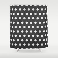 gold dots Shower Curtains featuring Dots by Nobu Design
