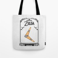 the legend of zelda Tote Bags featuring Zelda legend - Boomerang by Art & Be