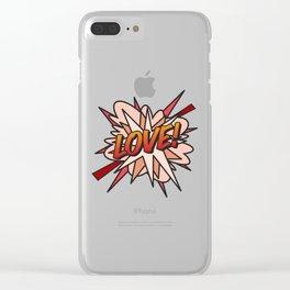 Comic Book LOVE! Clear iPhone Case