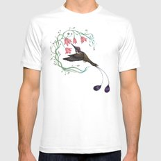 Hummingbird Coloured Version White MEDIUM Mens Fitted Tee