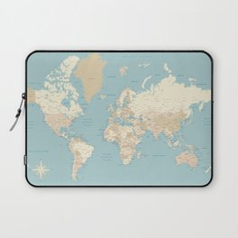 "Cream, brown and muted teal world map, ""Jett"" Laptop Sleeve"