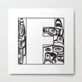Northwest Pacific Coast American Native White Letter F Metal Print