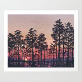 Louisiana Swamp Sunset Art Print