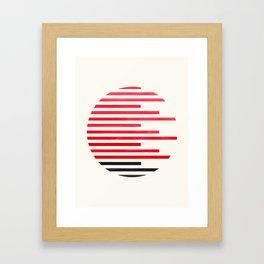 Mid Century Modern Minimalist Circle Photo Red Stripe Pattern Framed Art Print