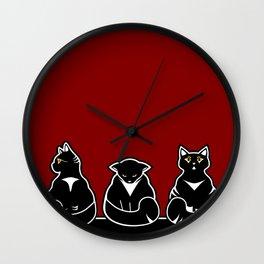 Three not so friendly kitties Wall Clock