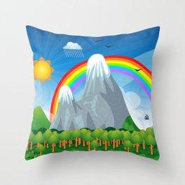 Child fantasy landscape Throw Pillow