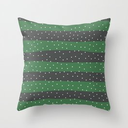 Christmas Simple seamless pattern Snow confetti on Grey and Green Pastel Stripes Background Throw Pillow
