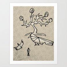 birds and tree monster Art Print