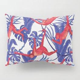 red monkey blue leaves pattern Pillow Sham