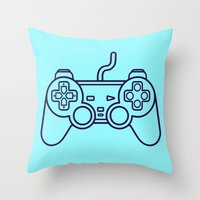 playstation Throw Pillows featuring Playstation 1 Controller - Retro Style! by Rikard Röhr