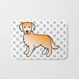 Yellow Golden Retriever Breed Dog Cute Cartoon Illustration Bath Mat