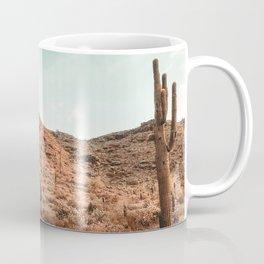 Saguaro Mountain // Vintage Desert Landscape Cactus Photography Teal Blue Sky Southwestern Style Coffee Mug