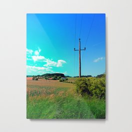 Clouds, a powerline and lots of green Metal Print