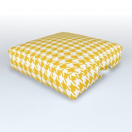 PreppyPatterns™ - Modern Houndstooth - Sunny Yellow Gold and White Outdoor Floor Cushion