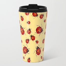 """I LOVE RED LADY BUGS"" ON CREAM COLOR Travel Mug"