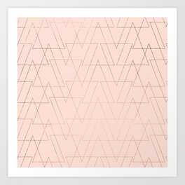 modern rose gold geometric thin triangles blush pink abstract pattern Art Print