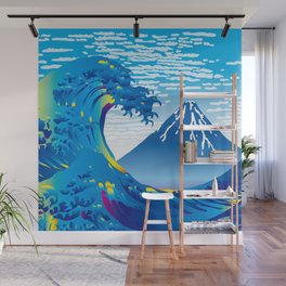 Hokusai Great Wave & Mt. Fuji under the Clear Sky Wall Mural