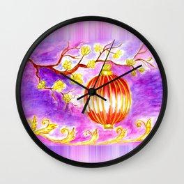 Oriental lantern Purple sky Wall Clock