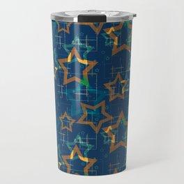 Star . Gold stars on a blue background . Travel Mug