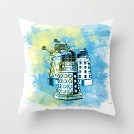 Dalek inspired mixed media watercolor Throw Pillow