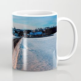 Winter road at sundown Coffee Mug