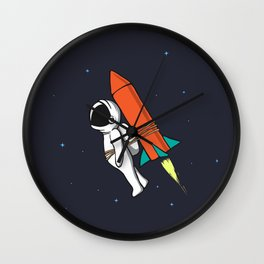Astronaut Flying to Space with Rocket Wall Clock