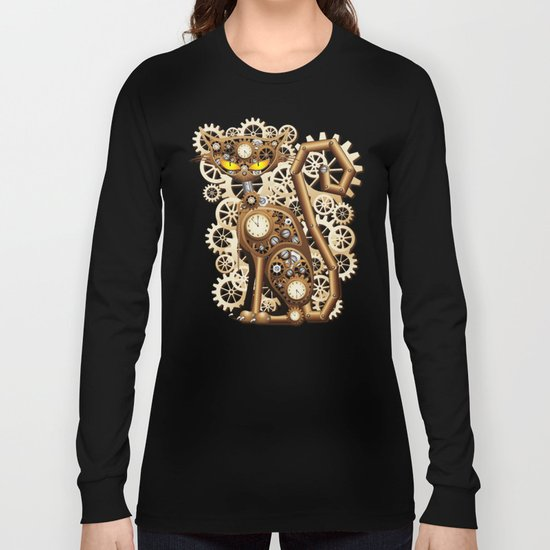 Steampunk Cat Vintage Style Long Sleeve T-shirt