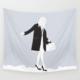 Winter Fashion Girl in the Snow Wall Tapestry