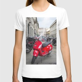 Red Vespa in Milan, Italy T-shirt