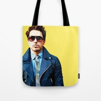 robert downey jr Tote Bags featuring Robert Downey Jr - Low Poly Vector Art by khitkhat