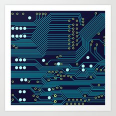 Dark Circuit Board Art Print